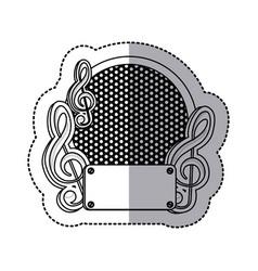 Emblem music plaque icon vector