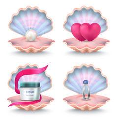 Shells with face cream pink hearts wedding ring vector