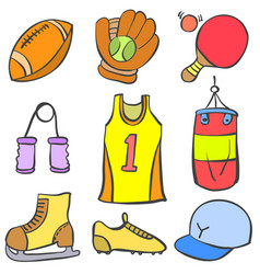 Sport equipment object of doodle collection vector