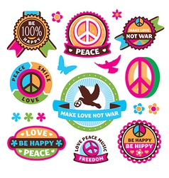 set of peace symbols and labels vector image