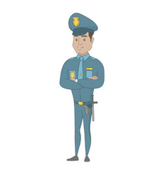 Hispanic policeman standing with folded arms vector