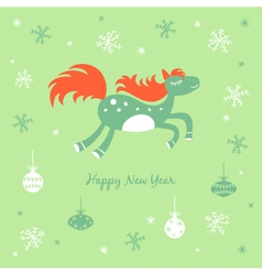 New year and christmas card with a horse vector
