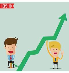 Cartoon business man pump graph vector