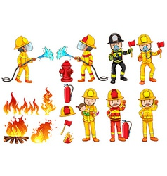 A group of firemen vector