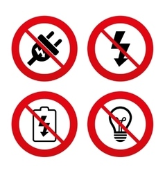 Electric plug sign lamp and battery low vector
