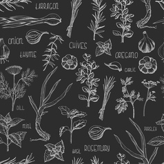 Seamless pattern with herbs and spices on a dark vector