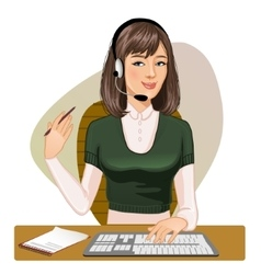 Call operator at a keyboard with pen in one hand vector
