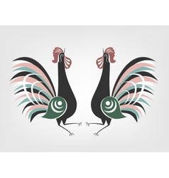 Gorodets cocks folk painting vector
