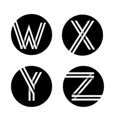 Capital letters w x y z in a black circle vector