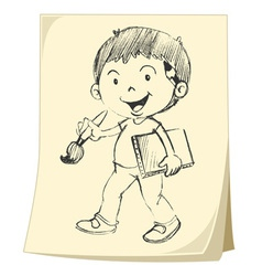 Boy artist sketch vector