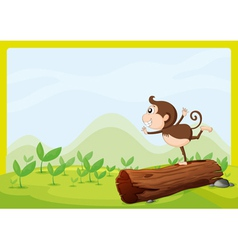 A monkey dancing on wood vector image vector image