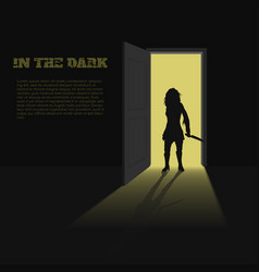 black silhouette of woman with knife vector image