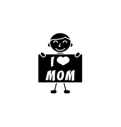child i love mom vector image vector image