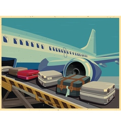 civilian aircraft and baggage old poster vector image
