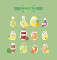 Collection of jars with jam objects vector