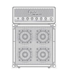 contour graphic electric guitar combo amplifier vector image