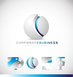 Corporate business sphere 3d grey logo icon design vector image