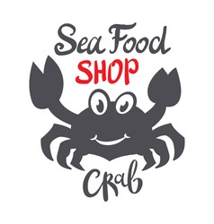 Crab silhouette Seafood shop logo branding vector image