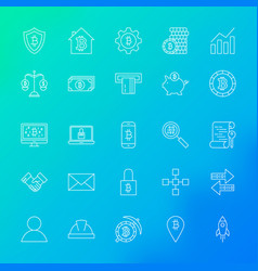 Cryptocurrency line icons vector