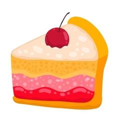 Cute cartoon cake piece vector