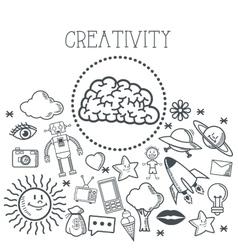 Doodle icon design creativity icon draw concept vector