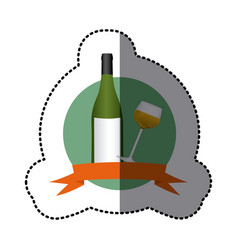 emblem wine bottle and glass with wine vector image