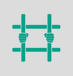 hands holding prison bars icon vector image