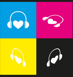 Headphones with heart white icon with vector