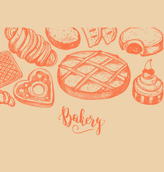 homemade bakery product vintage background vector image vector image