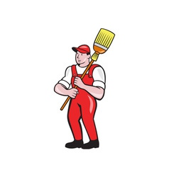 Janitor cleaner holding broom standing cartoon vector