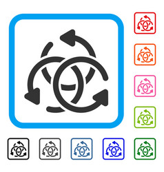 Knot rotation framed icon vector