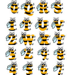 latin alphabet funny bee abc vector image
