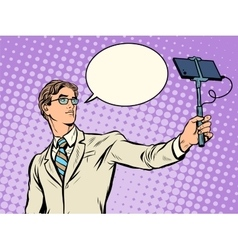 Male narcissist doing selfies vector image vector image