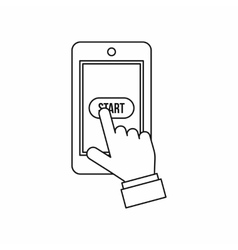 Mobile phone game start icon outline style vector image