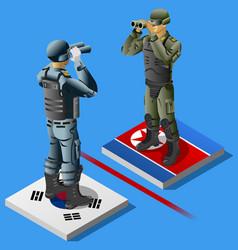 north vs south korea crisis concept infographic vector image