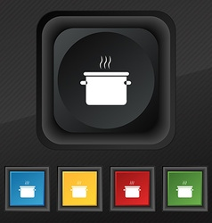 Pan cooking icon symbol set of five colorful vector