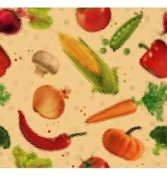 Pattern pixel vegetables kraft vector image