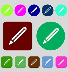 Pencil sign icon Edit content button 12 colored vector image