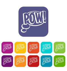 Pow speech bubble icons set flat vector