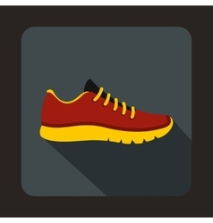 Red sneakers icon flat style vector image