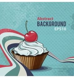 Retro background with tasty cupcake vector image vector image