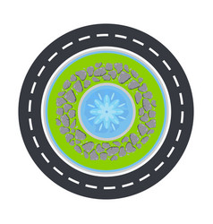 Road circle and fountain inside top view vector