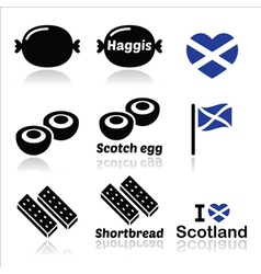 Scottish food - Haggis Scotch egg Shortbread ico vector image vector image