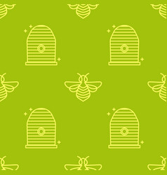 Seamless pattern in a linear style apiary vector