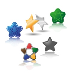 Set of different stars vector image vector image