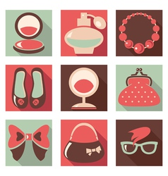 Set of woman fashion flat icons vector image