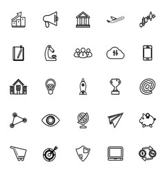 Startup business line icons on white background vector image vector image