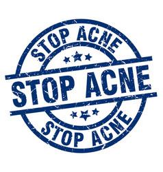 Stop acne blue round grunge stamp vector