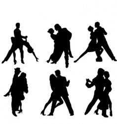 tango dancers silhouettes vector image vector image