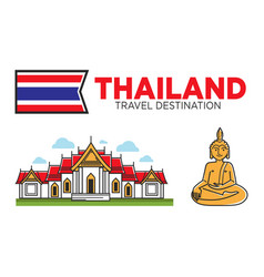 thailand tourism travel and thai culture symbols vector image